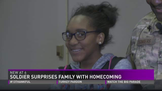 Air Force dad surprises daughter, wife with early return for Thanksgiving
