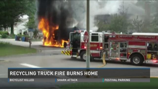 The TFC recycling truck and nearby home on fire on