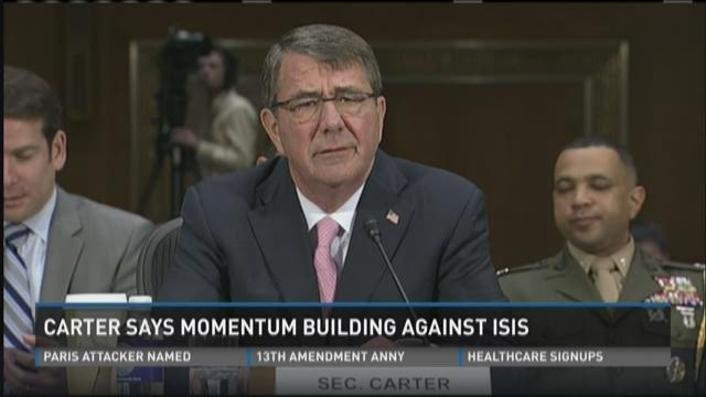Defense Secretary Ash Carter testifies at a Senate Armed Services Committee hearing on Dec. 9, 2015.
